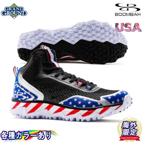 【海外限定】【送料無料】ブーンバー バーザーク USA スターズ & ストライプス ミドルカット 野球 トレーニングシューズ トレシュー アップシューズ グランドシューズ Boombah Mens Berzerk USA Stars & Stripes Turf Shoe Mid