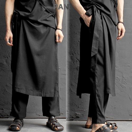 スカート風ワイドパンツ ロングスカート マキシーパンツ ガウチョパンツ バギーパンツ メンズスカート メンズファッション サルエル メンズ