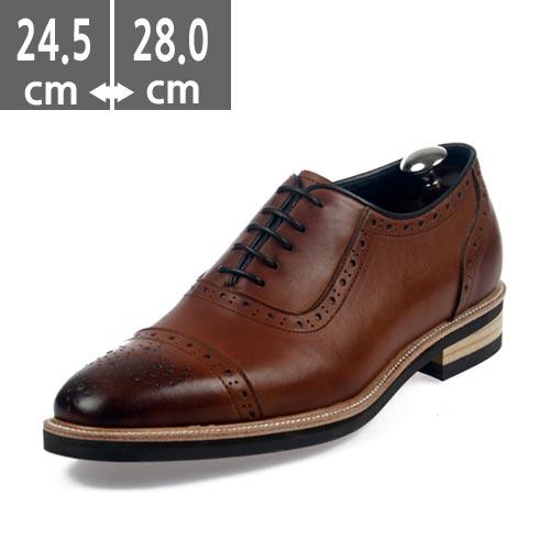 ☆ハンドメイド靴☆ヒール メンズ3.5cm ビジネスシューズ  ストレートチップ ブラウン カジュアルシューズ本革