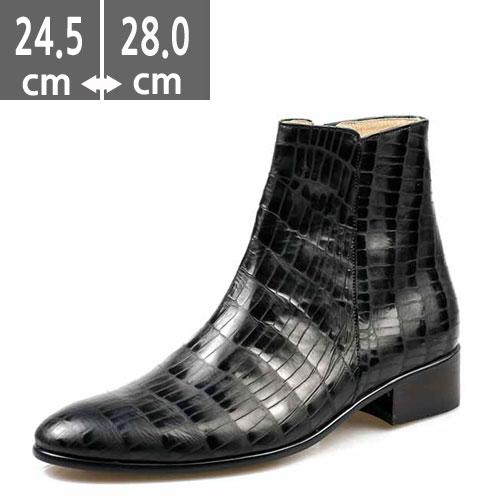 プレミアムメンズ ブーツ 本革 レザー 黒 ハンドメイド ヒールブーツ メンズ、ヒール4.0cm、メンズ ハイヒール、4.0cmヒール ブーツメンズ、ウエスタン ブーツメンズ、ウエスタンブーツ、ヒールブーツ メンズ