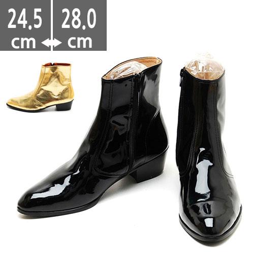 ゴールドブーツ ブラック シルバー ハンドメイド ウエスタン ブーツ、ヒール4.5cm、メンズ ハイヒール、4.5cmヒール ブーツメンズ、ウエスタン ブーツメンズ、ウエスタンブーツ、ヒールブーツ レインブーツ メンズ、
