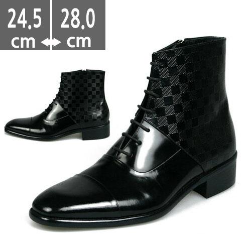 プレミアム本革ブーツ ブラック 黒 ハンドメイド ヒールブーツ メンズ、ヒール4.0cm、メンズ ハイヒール、4.0cmヒール ブーツメンズ、ウエスタン ブーツメンズ、ウエスタンブーツ、ヒールブーツ メンズ