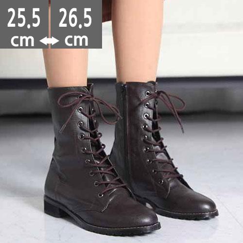 大きいサイズ レディース靴、大きいサイズ レディースシューズ, レースアップ ショートブーツ 3.5cm(25.5~26.5cm)