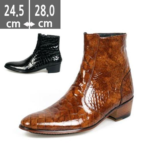 ウエスタン プレミアム牛革ブーツ ヒールブーツ メンズ ブラック 黒 ハンドメイド ウエスタン ブーツ、ヒール4.5cm、メンズ ハイヒール、4.5cmヒール ブーツメンズ、ウエスタン