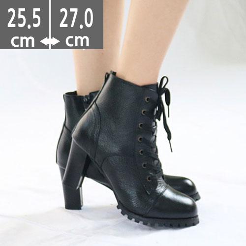 大きいサイズ レディース靴、大きいサイズ レディースシューズ, レースアップ ショートブーツ 8.0cm(25.5~27.0cm)【 大きいサイズ 25.5 26.0 26.5 27.0cm】