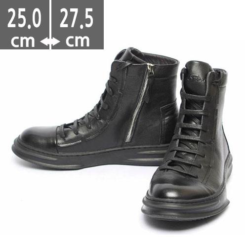 送料無料 ジッパー付スニーカー、メンズスニーカー、combat boots、ワークブーツ,編み上げブーツ、きれいめ、キレカジ ヒール4.5cm