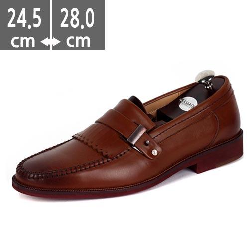 ☆ハンドメイド靴☆ヒール メンズ3.5cm ビジネスシューズ  シングルモンクブラウン カジュアルシューズ本革