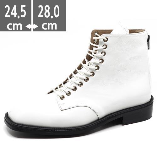 ハンドメイドプレミアムメンズ ブーツ 本革 レザーホワイトブーツ ホワイト ウエスタン ブーツ、ヒール3.5cm、メンズ ハイヒール、3.5cmヒール ブーツメンズ、ウエスタン ブーツメンズ、ウエスタンブーツ、ヒールブーツ メンズ、乗馬ブーツ メンズ