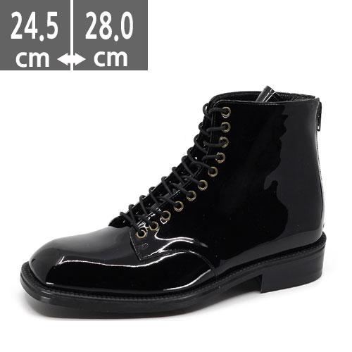 ブラック、エナメル、 ハンドメイド ブーツ、ヒール3.5cm、メンズ ハイヒール、3.5cmヒール ブーツメンズ、ウエスタン ブーツメンズ、ウエスタンブーツ、