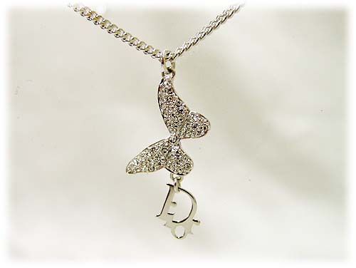 DIOR dior necklace / butterfly & logo pendant necklace D21784