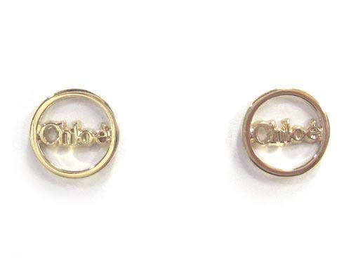 Chloe Pierced Earrings Round Motif Ring Logo 2e0373 Am1
