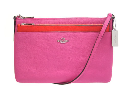 Coach Bag Shoulder Embossed Textured Leather Swingpack With Pop Up Porch 52377 Sv Fx Fuchsia Pink