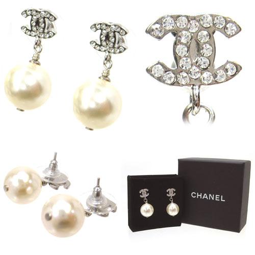 CHANEL / Chanel earrings, Coco & Pearl Earrings A36138Y02005 color / clear × silver