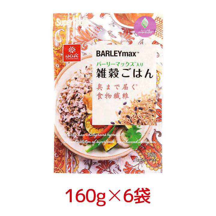 ほのかな甘みと香ばしい風味 はくばく バーリーマックス入り雑穀ごはん 160g 6袋 1ケース 黒米 hs まとめ買い もちきび 品質保証 もちあわ モデル着用 注目アイテム 区分A