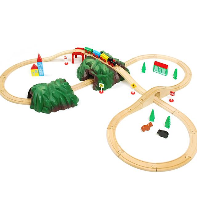 brio 互換【マキシム 木製レール 基本の8の字セットと緑のトンネルセット 】ブリオ 互換 2歳 3歳 4歳 誕生日プレゼント おもちゃ 木のおもちゃ 男の子 女の子 プレゼント 汽車 電車 知育玩具 お祝い■あす楽