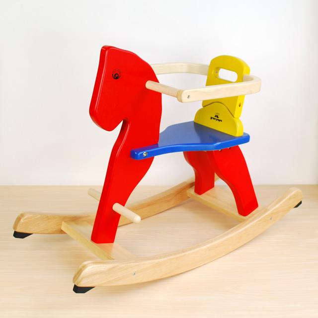 お子様が自分で乗り降り出来るようになったらサークルを取り外せる木馬です。 少々難あり【ピントーイ サークル付き木馬 ★組立完成品をお届け!】PINTOY 木の 木製 天然木 乗用 乗り物8ヶ月頃 1歳 子供用 ベビー キッズ 幼児ギフト
