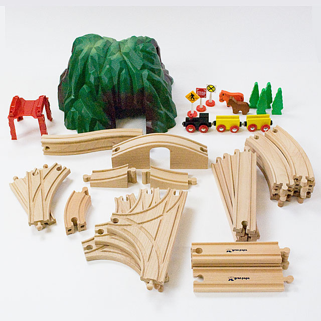 brio 互換【マキシム 木製レール 緑のトンネルとパーツのセット】2歳 3歳 4歳 誕生日プレゼント 男 女 Brio ブリオ 互換 木のおもちゃ 木製レール 汽車 電車 木製玩具