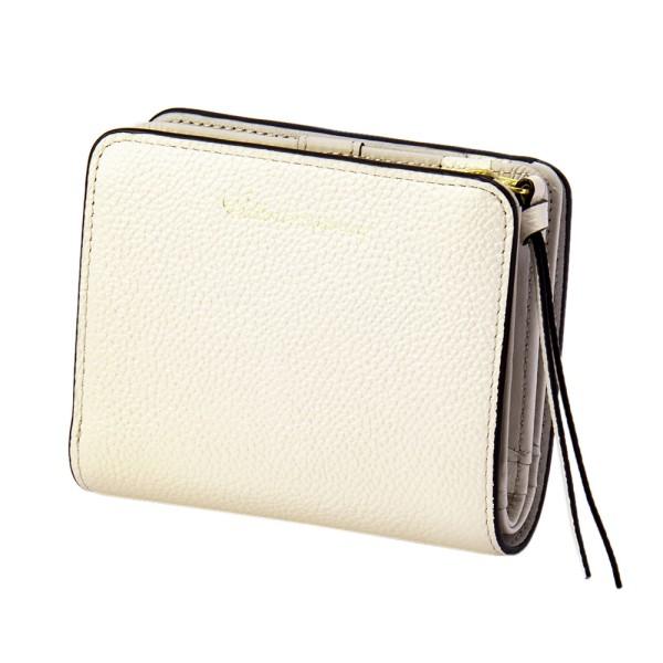 パール2 2つ折り ウォレット ミニ アイボリー EDITO365 財布 おしゃれ かわいい 本革 レディース マークス