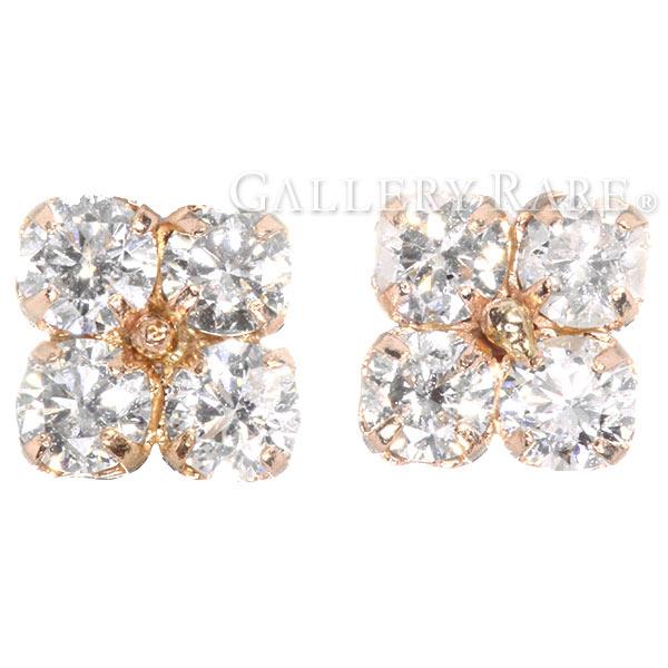 ダイヤモンド ピアス フラワーモチーフ ダイヤモンド計0.50ct K18PGピンクゴールド ジュエリー ダイアモンド