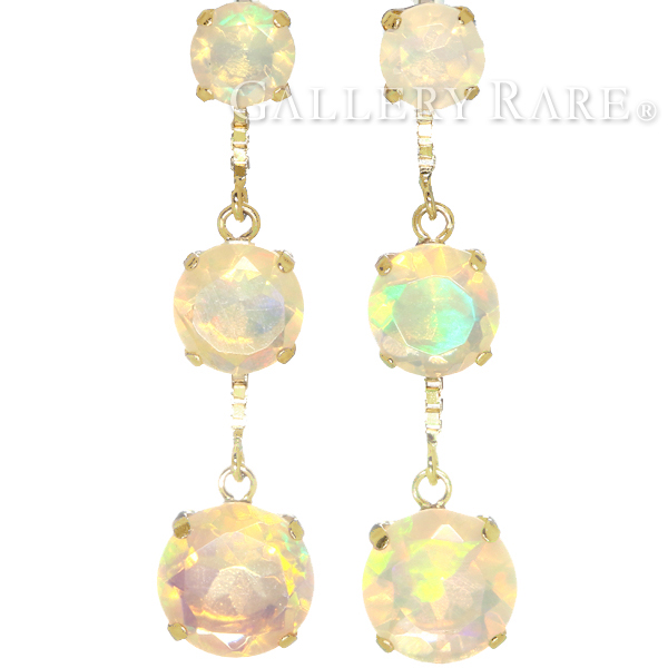 Opal Earrings Trilogy Total 1 60 Ct K18yg Yellow Gold Jewelry