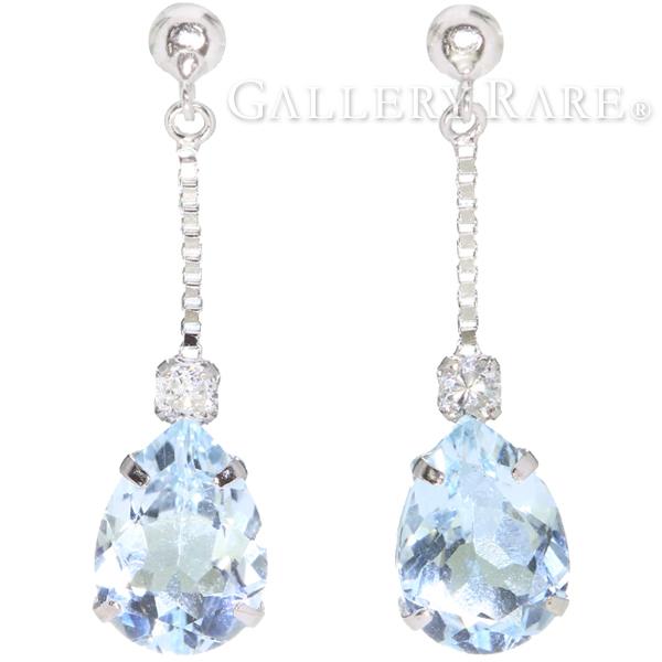 アクアマリン ダイヤモンド ピアス しずくモチーフ アクアマリン計1.60ct ダイヤモンド0.08ct  K18WGホワイトゴールド ジュエリー ダイアモンド