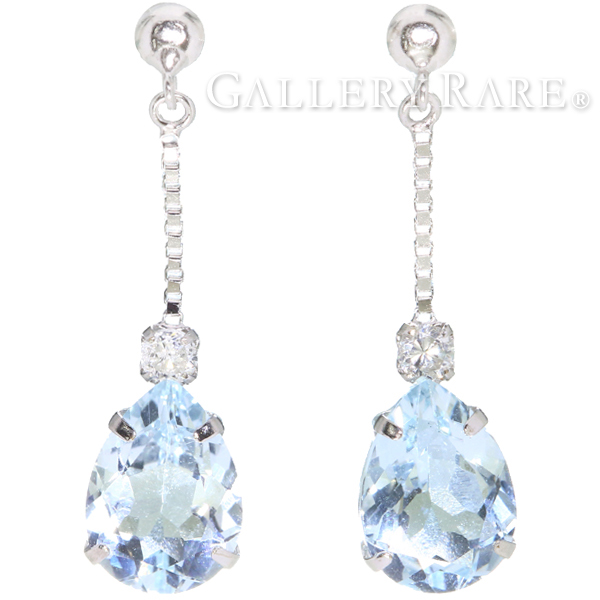 Aquamarine Diamond Earrings Drop Motif Total 1 60 Ct 0 08 K18wg White Gold Jewelry