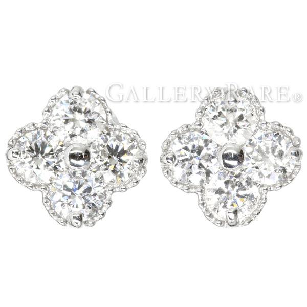 ダイヤモンド ピアス フラワーモチーフ ダイヤモンド計0.50ct 4Pダイヤ プラチナ900 PT900 ハート&キューピッド ジュエリー ダイアモンド