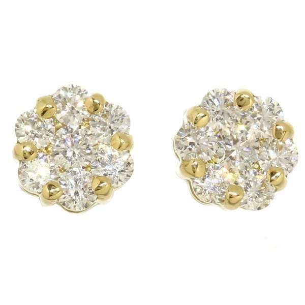 ダイヤモンド ピアス フラワーモチーフ ダイヤモンド計0.50ct 7Pダイヤ K18YGイエローゴールド ハート&キューピッド ジュエリー ダイアモンド