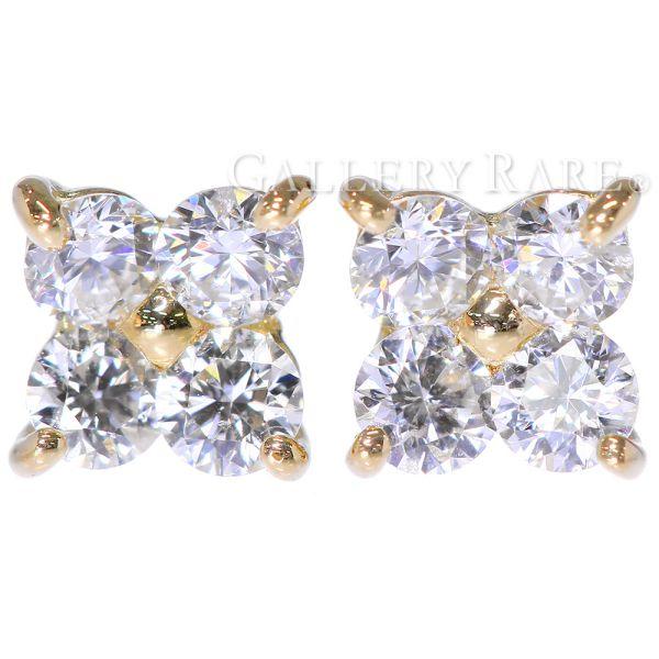ダイヤモンド スタッドピアス ダイヤモンド 計0.24ct 4Pダイヤ K18YGイエローゴールド ハート&キューピッド ジュエリー ダイアモンド
