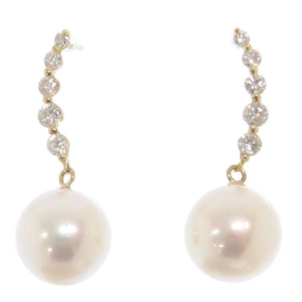 パール ピアス ダイヤモンド 計0.26ct K18YG イエローゴールド 真珠 ダイアモンド ジュエリー