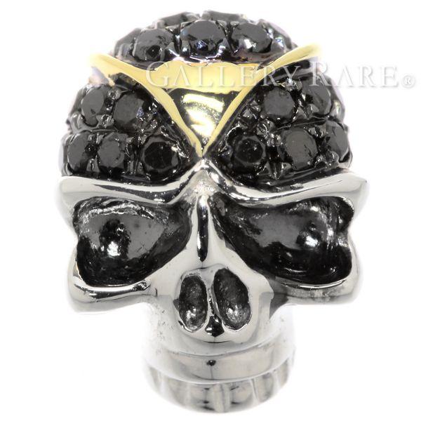 ブラックダイヤモンド ブローチ スカル ダイヤモンド 0.16ct K18WG ホワイトゴールド ダイアモンド ジュエリー ピンブローチ ドクロ