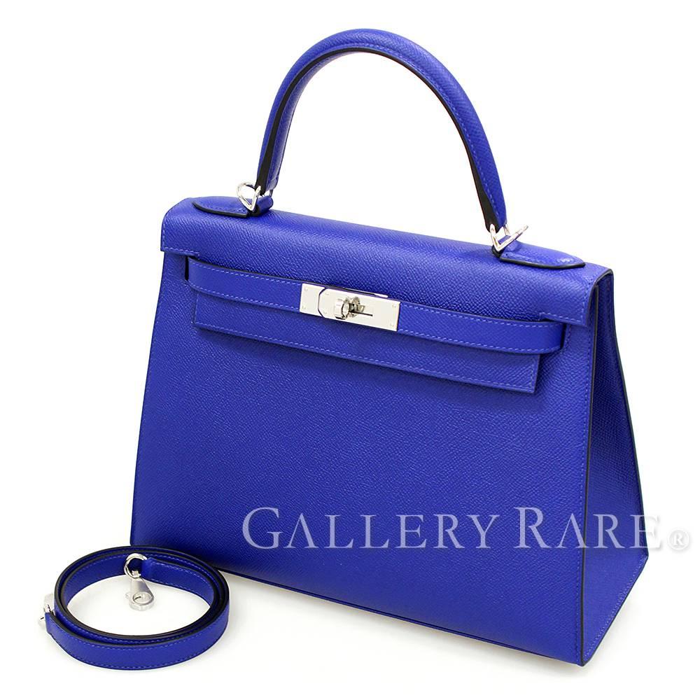 Hermes Kelly 28 Ier Blue Electric Silver Veau Epsom A Handbag France 4419914