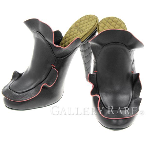 フェンディ ミュール  レザー ブラック フリル キルティング レディースサイズ38 FENDI 靴 サンダル【安心保証】【中古】