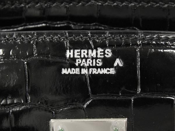 beee0fb5a2ce エルメス バーキン35 cm ハンドバッグ ブラック×シルバー金具 クロコダイル ポロサス シャイン E刻印 HERMES Birkin  Crocodile Porosus Lisse バッグ【安心 ...