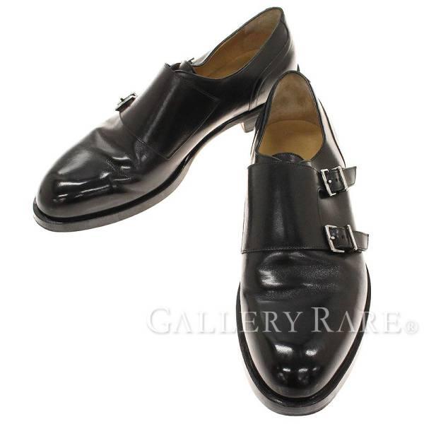 エルメス ローファー ダブルモンク ブラック レザー メンズサイズ43 HERMES ビジネスシューズ 靴【安心保証】【中古】