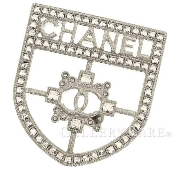 シャネル ブローチ ラインストーン エンブレム ロゴ B15B CHANEL アクセサリー ピンブローチ【安心保証】【中古】