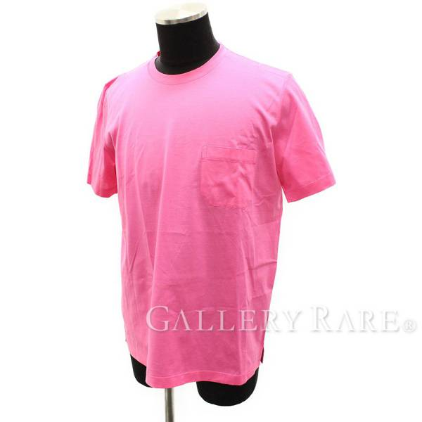 エルメス Tシャツ  半袖 無地 ピンク コットン メンズサイズL HERMES 服 T-Shirt