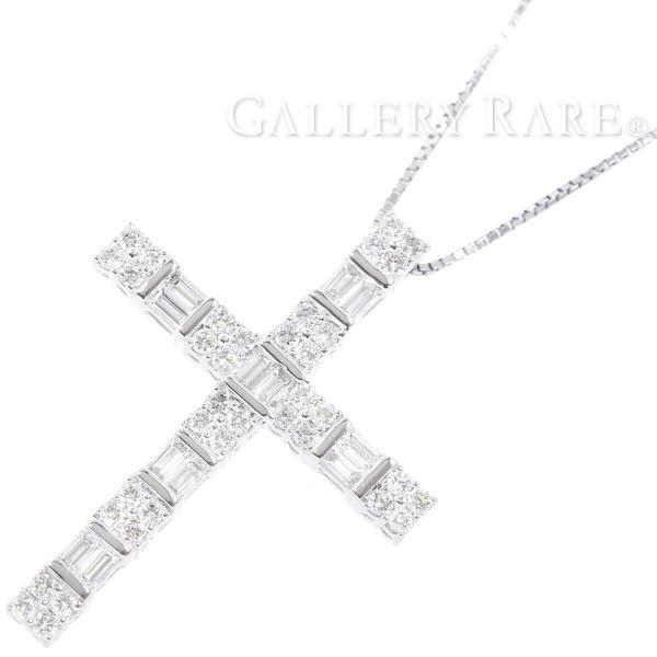 ダイヤモンド ネックレス クロスモチーフ ダイヤモンド 計1.26ct K18WGホワイトゴールド ジュエリー 宝石【安心保証】【中古】
