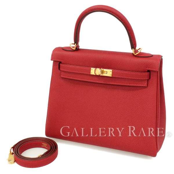 エルメス ハンドバッグ ケリー25 cm 内縫い ルージュヴィフ×ゴールド金具 トゴ C刻印 HERMES Kelly バッグ