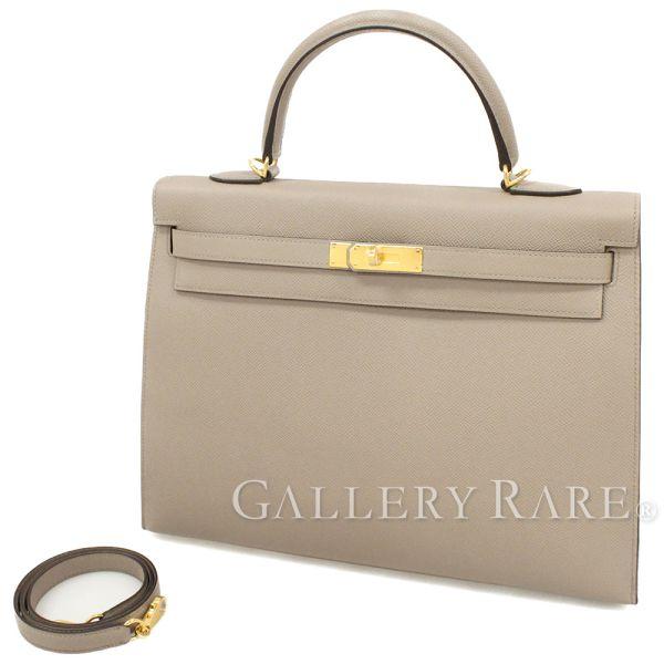 エルメス ハンドバッグ ケリー35 cm 外縫い グリアスファルト×ゴールド金具 ヴォーエプソン A刻印 HERMES Kelly バッグ