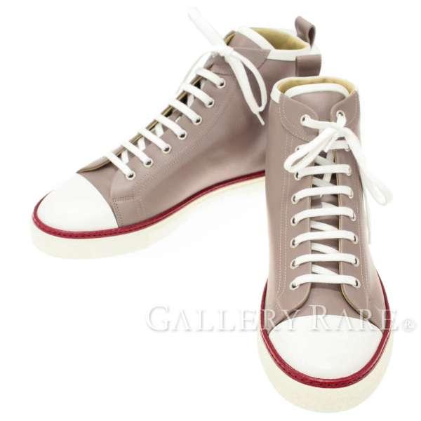 エルメス スニーカー ハイカット ジミー Jimmy エトゥープ カーフ メンズサイズ41 1/2 HERMES 靴  2017春夏 スポーツ