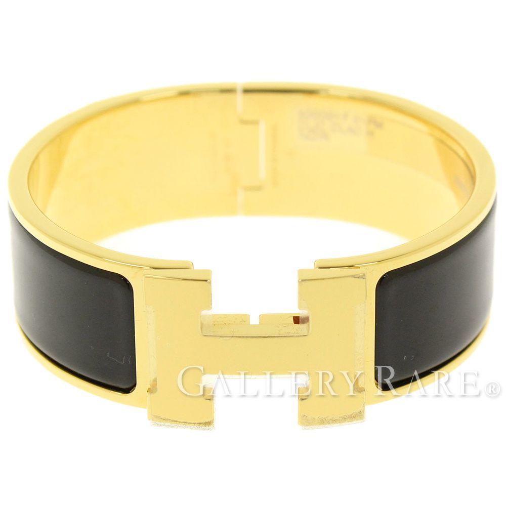 Hermes Clic Clac H Size Pm Black Enamel Fashion Bracelet Authentic 4846307