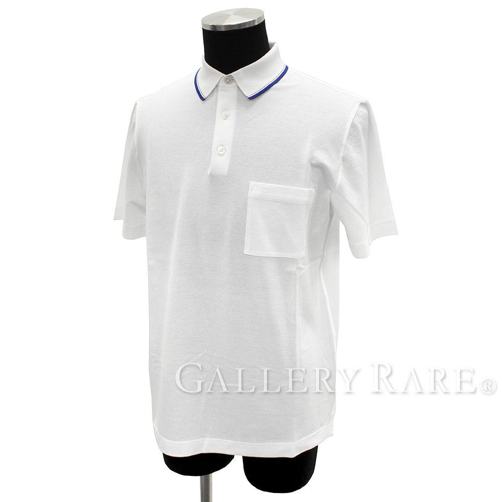 エルメス ポロシャツ コットンピケ ホワイト コットン メンズサイズM HERMES シャツ 半袖【安心保証】【中古】