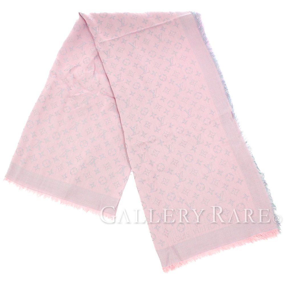LOUIS VUITTON Shawl Monogram Rainbow Pink Silk Wool M75749 Authentic 4848912 1b868dbbb6d