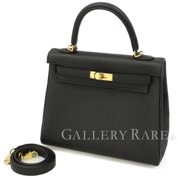 エルメス ハンドバッグ ケリー25 cm 内縫い ブラック×ゴールド金具 トゴ C刻印 HERMES Kelly バッグ 黒