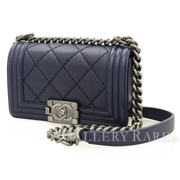 Chanel Chain Shoulder Bag Boy Small Here Mark Calfskin A67085