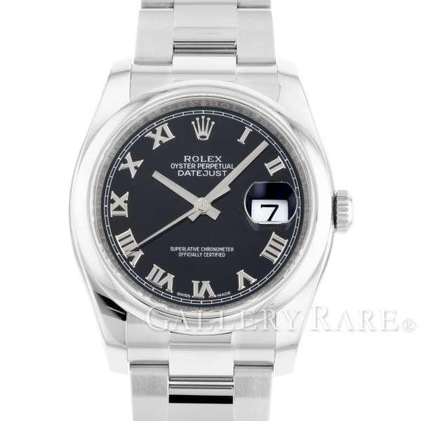 ロレックス デイトジャスト36 黒文字盤 ランダムシリアル ルーレット 116200 ROLEX 腕時計【安心保証】【中古】