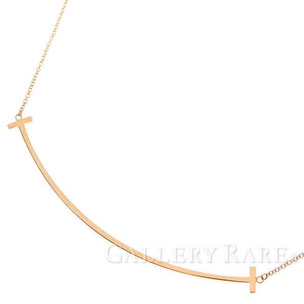 ティファニー ネックレス Tスマイル ペンダント K18PGピンクゴールド Tiffany&Co. ジュエリー ラージ【安心保証】【中古】