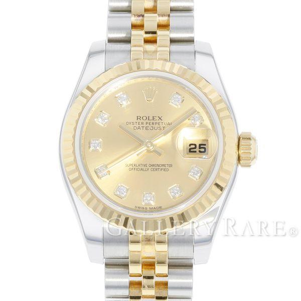 ロレックス デイトジャスト K18YGイエローゴールド ランダムシリアル ルーレット 179173G ROLEX 腕時計 レディース【安心保証】【中古】