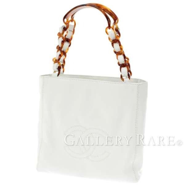 d8853d82c5e CHANEL White Lambskin CC Logo Chain Tote Bag A10186 Italy Authentic 4949626  ...